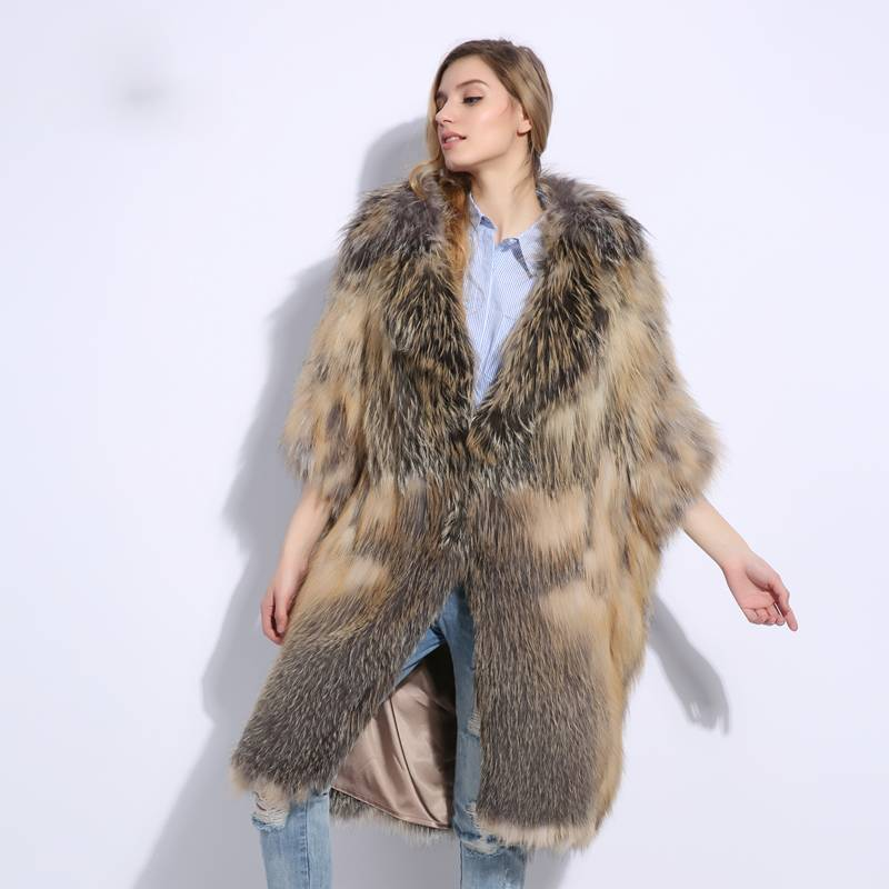 KNITTED NATURAL REAL SOFT FOX FUR COAT