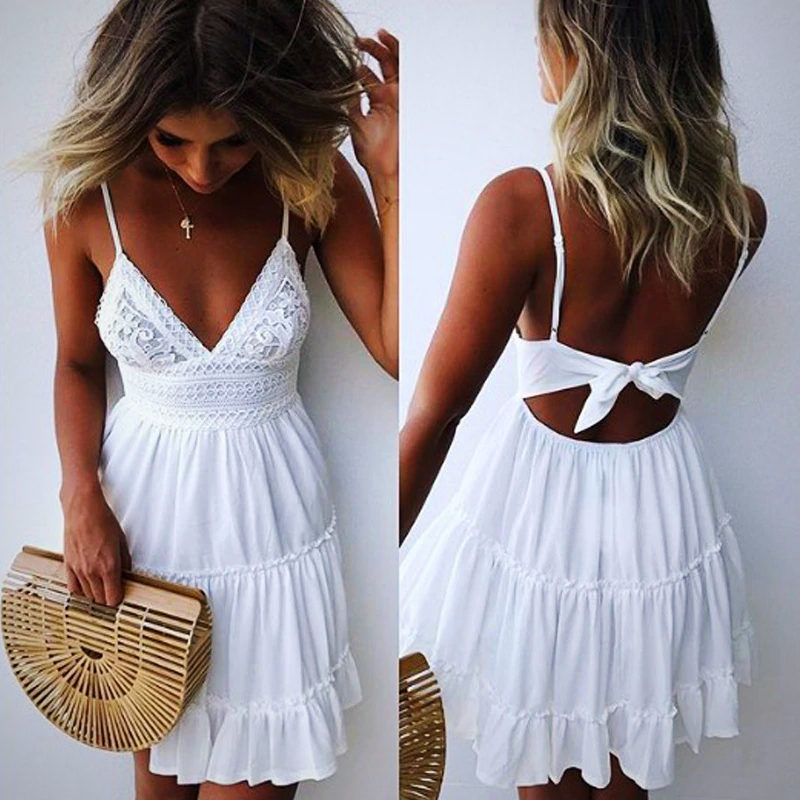 BACKLESS V NECK BEACH DRESS