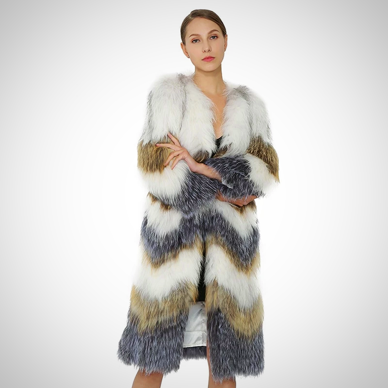 KNITTED GENUINE RACCOON FUR COAT