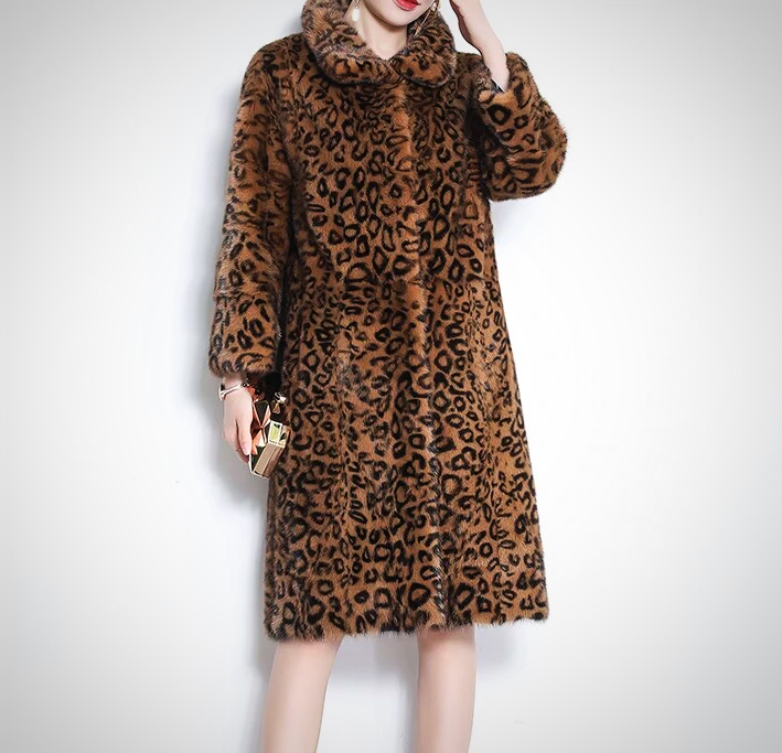LEOPARD PRINT REAL MINK LONG COAT