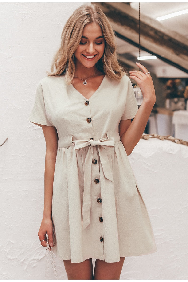 Vintage V neck short sleeve dress