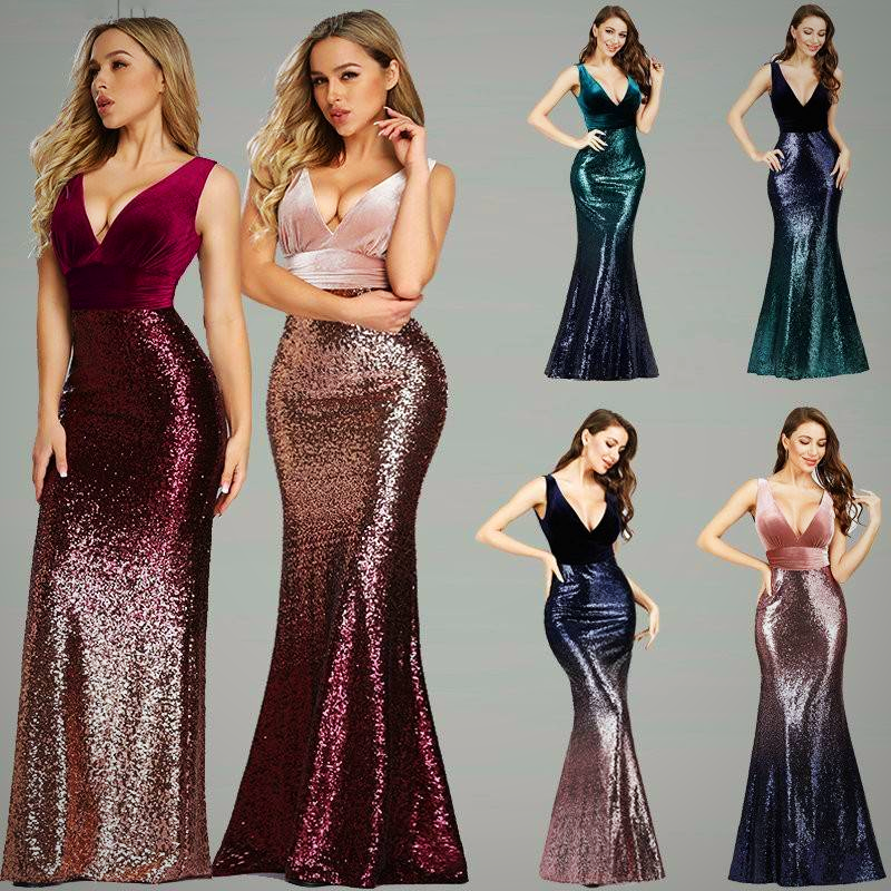 V NECK SLEEVELSS MERMAID DRESS