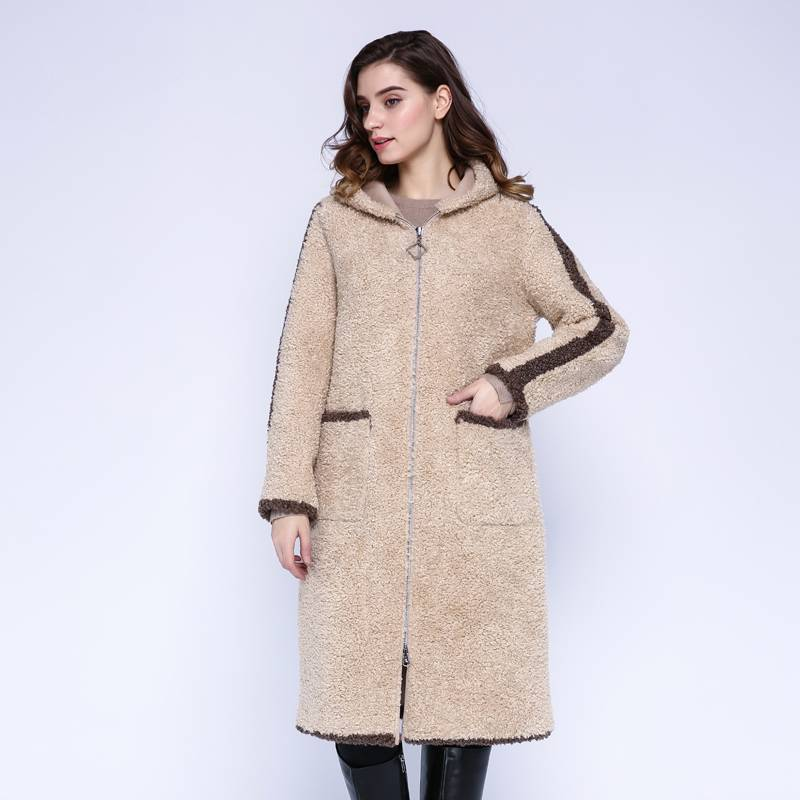 LONG HOODED TRENCH FUR COAT