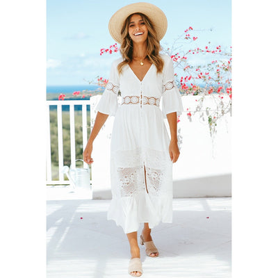 Short Sleeve White Beach Dress