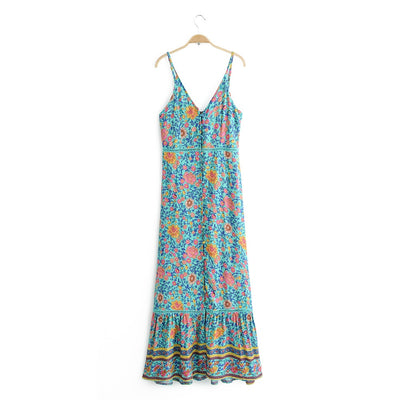 Pretty Floral Patterned Sleeveless Boho Dress