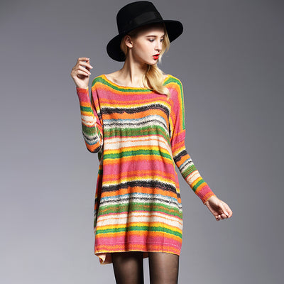 Casual Colorful Patterned Pullover Sweater