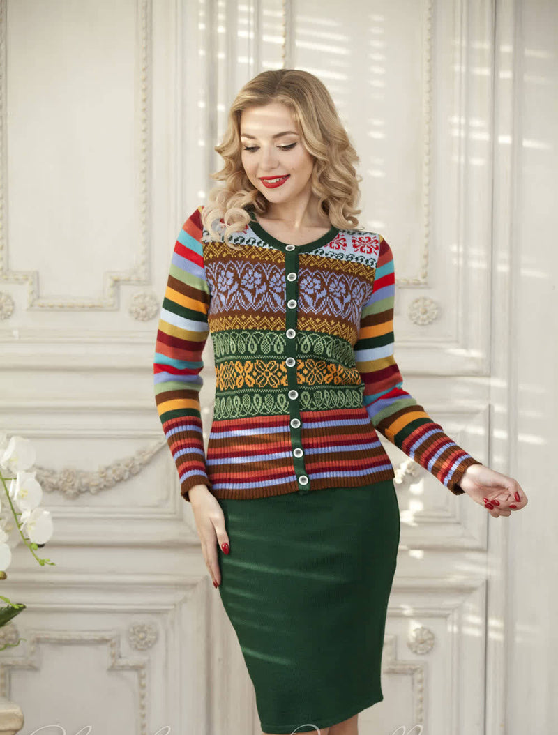 MULTICOLOR STRIPED KNITTED SUIT