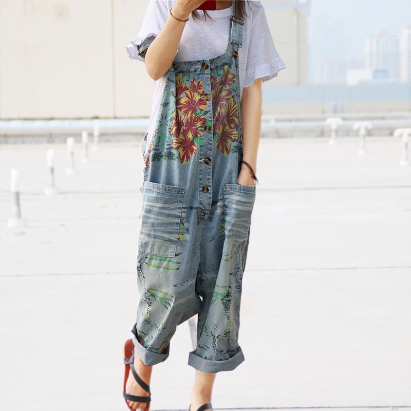 Strap Floral Print Denim Trousers