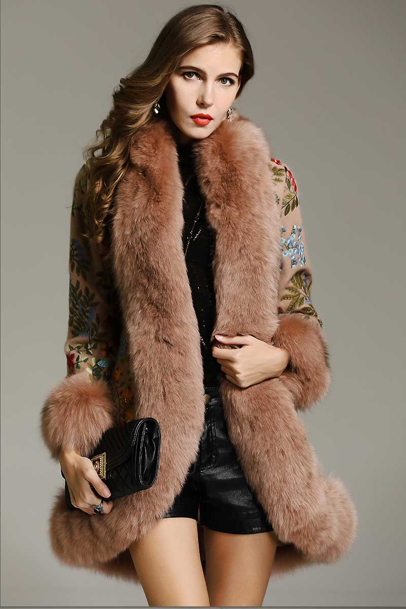 Plus Size Floral Embroidered Vintage Fur Coat