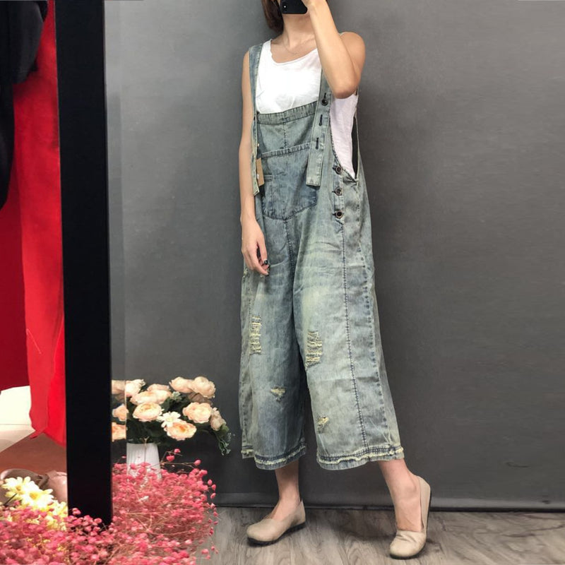 Vintage  Bleached Jumpsuits Denim Trousers