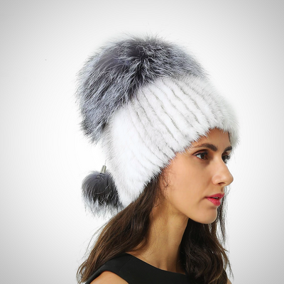 KNITTED MINK REAL FUR CAP