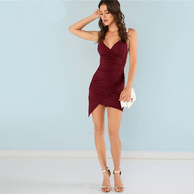 Solid Sheath Mini  Party Dress