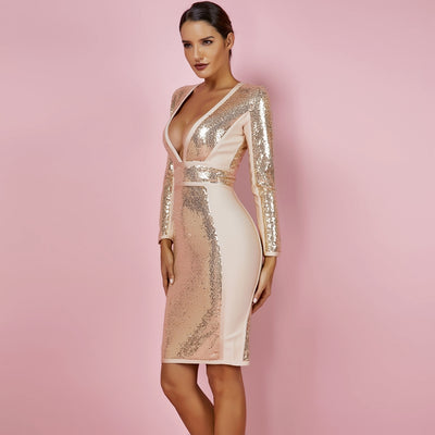 Stylish Gold Sequined Bandage Party Dress
