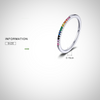 SILVER RAINBOW CZ FINGER RING