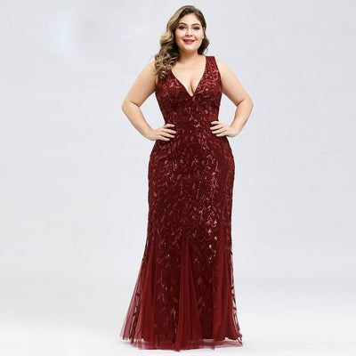 PLUS SIZE ELEGANT APPLIQUES MERMAID LONG DRESS