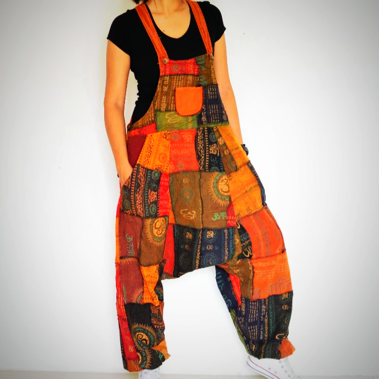 Patchwork harem cotton jumpsuit
