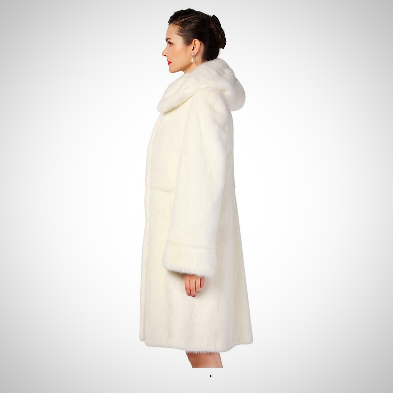 SLIM WHITE MINK LEATHER FUR COAT