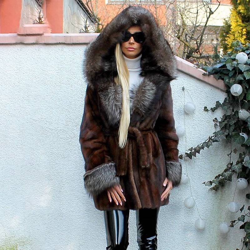 REAL NATURAL MINK FUR HOOD COAT