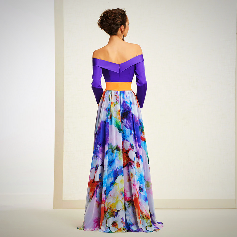 LINE PRINT EVENING PARTY GOWN