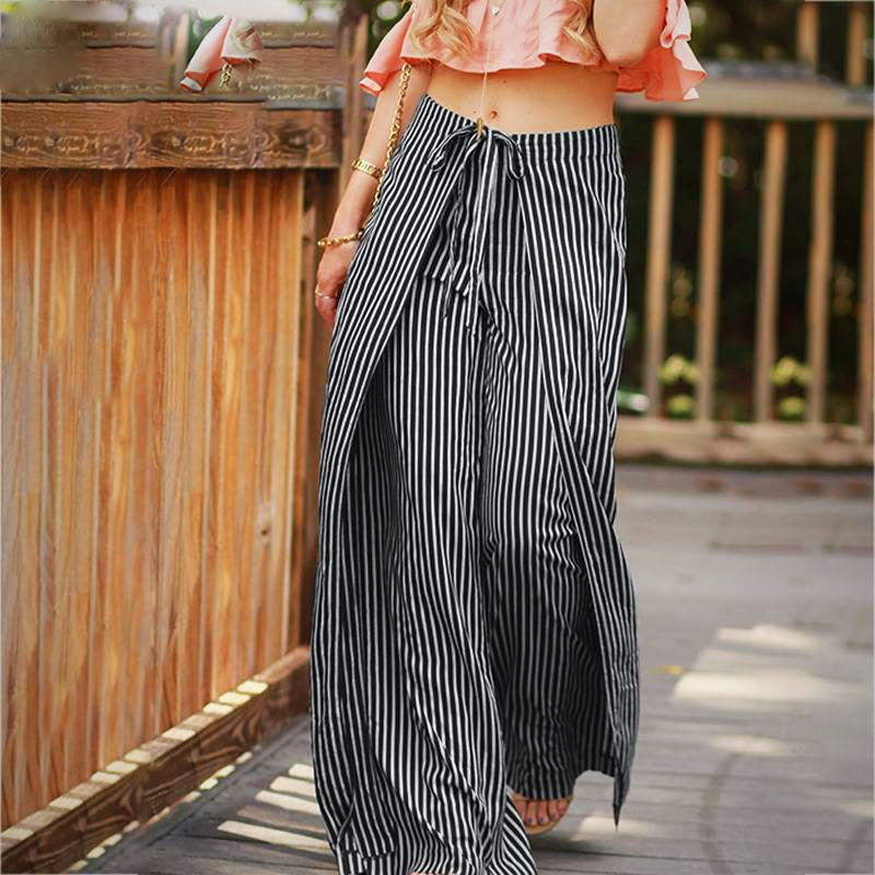 STRIPED PRINT LONG TROUSER