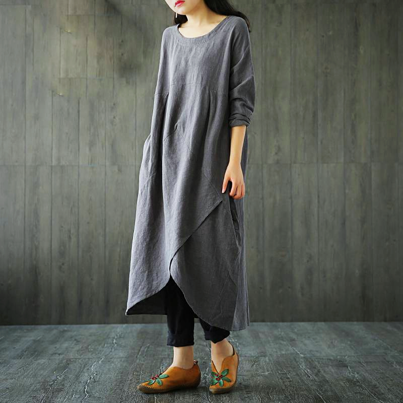 LONG SLEEVE IRREGULAR MIDI DRESS