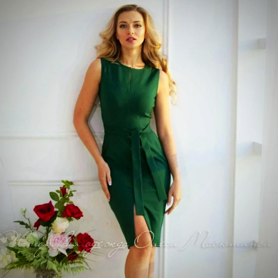 Elegant green midi dress
