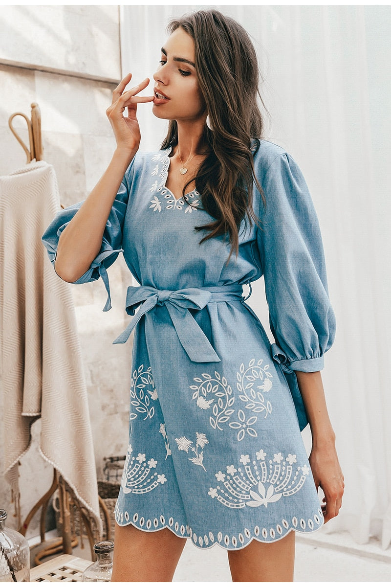 Summer v neck embrodiery denim dress