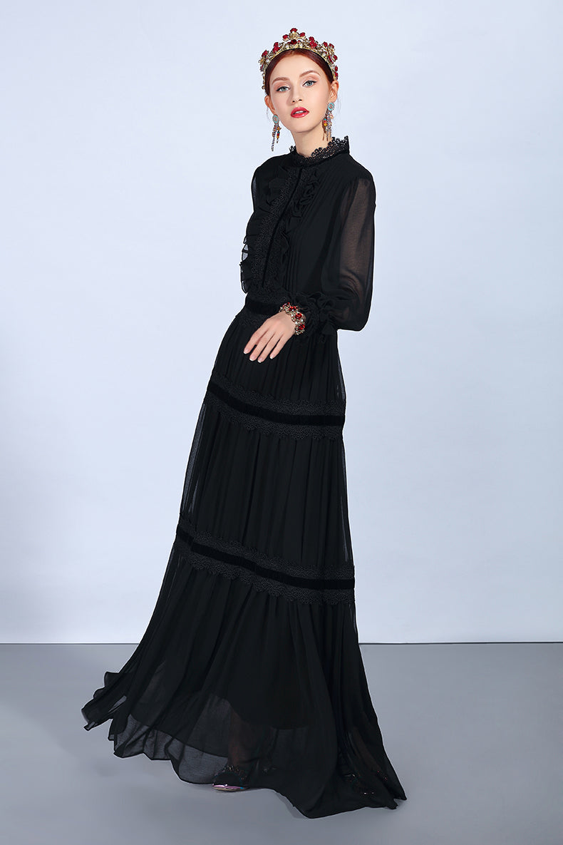 Vintage Ruffled Sleeve Maxi Dress