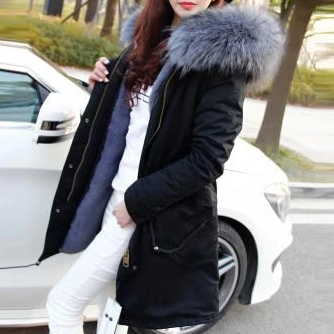 NATURAL RACCOON HOODED FUR COAT
