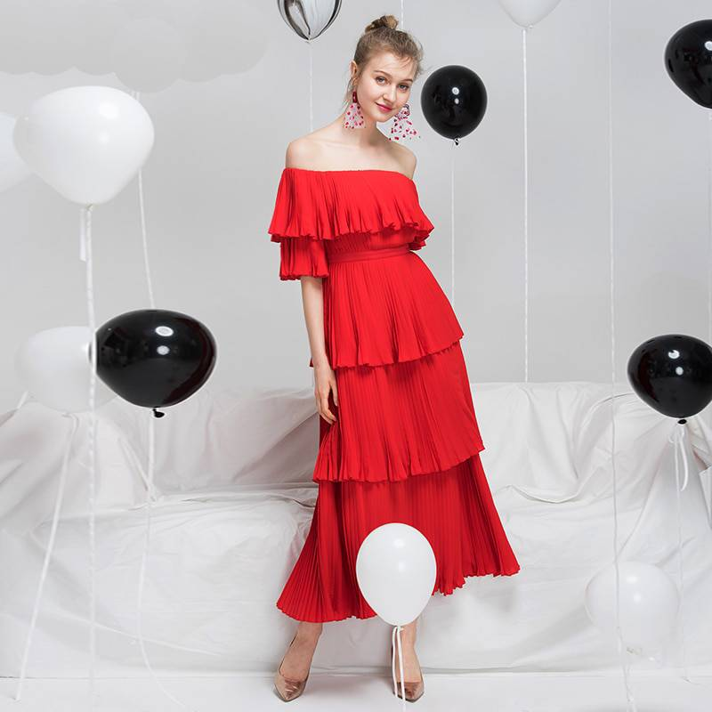 Red Pleated Long Dress