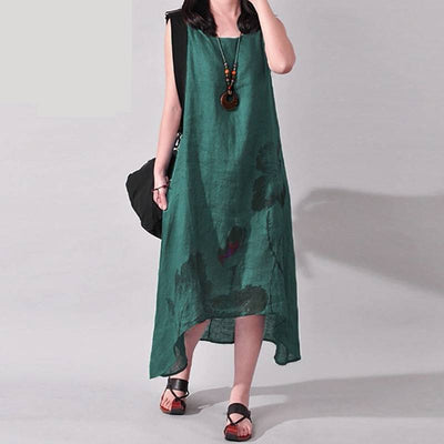 Vintage Ink Sleeveless Cotton Dress