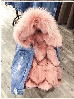 REAL RACCOON FUR COLLAR HOODED COAT