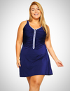 PLUS SIZE ZIP FRONT SWIMSUIT