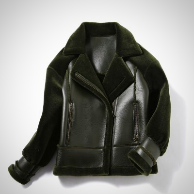 PARKA REAL FAUX WOOL LEATHER COAT