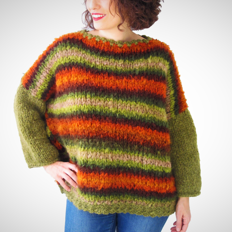 Oversized puffy knit wool sweater
