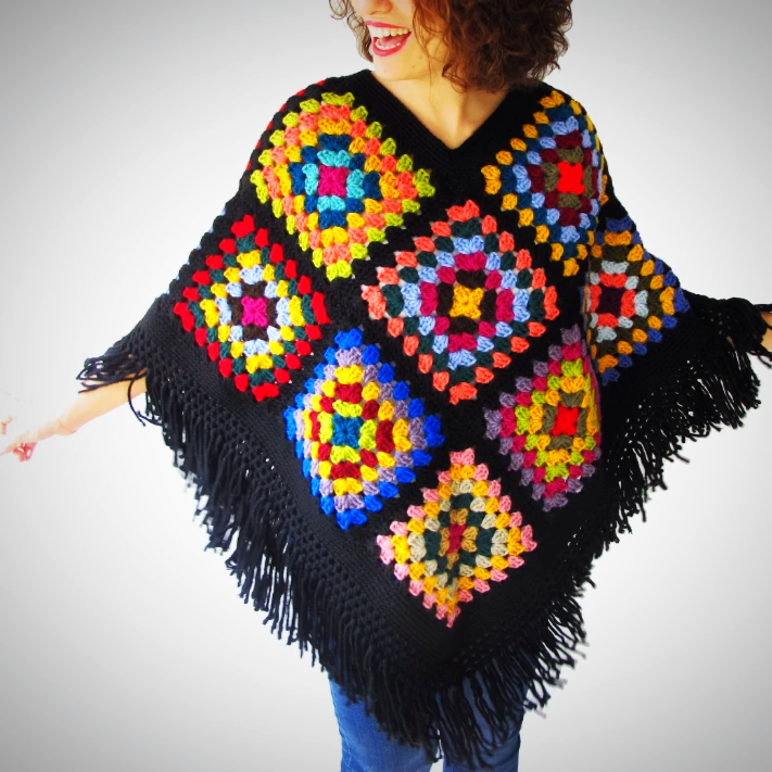 Oversized Multicolor Knitwear poncho