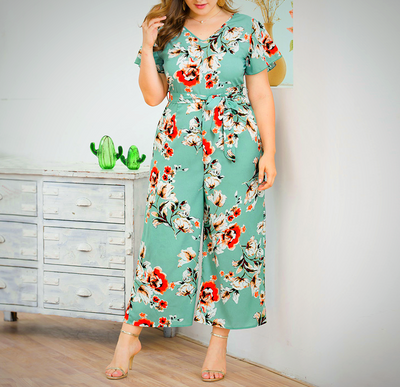 Causal Plus Size Floral Patterned Summer Jumpsuit