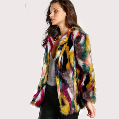 Collarless Casual Fur Coat