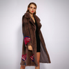 FLOWER PATTERN VELVET REAL FUR COAT