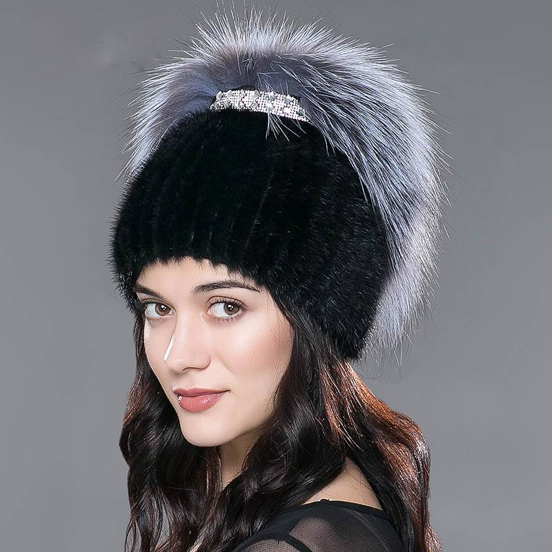 KNITTED REAL MINK SILVER FOX FUR CAP