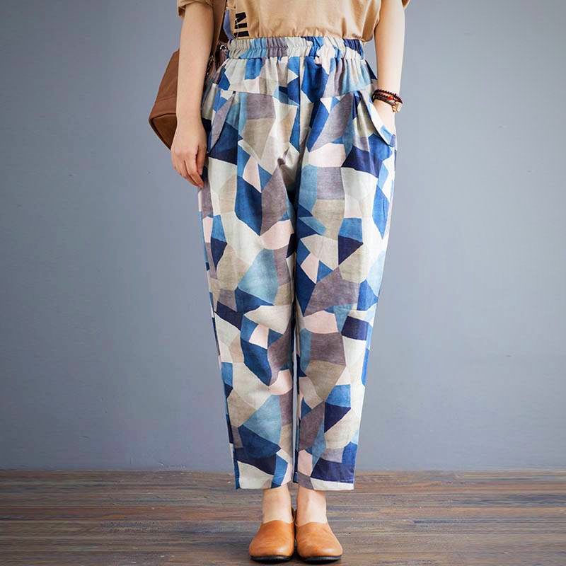 GEOMATRIC PRINTED LINEN LONG PANT