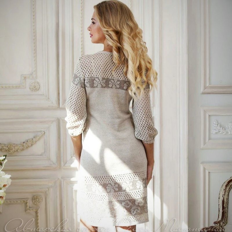 Knitted Cotton grey dress