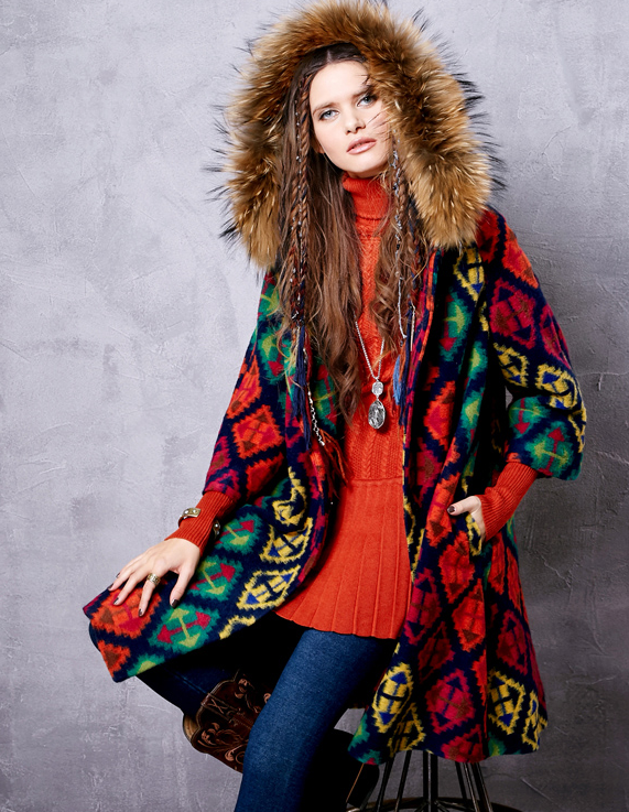 Stylish Ethnic Patterned Winter Parka Jacket