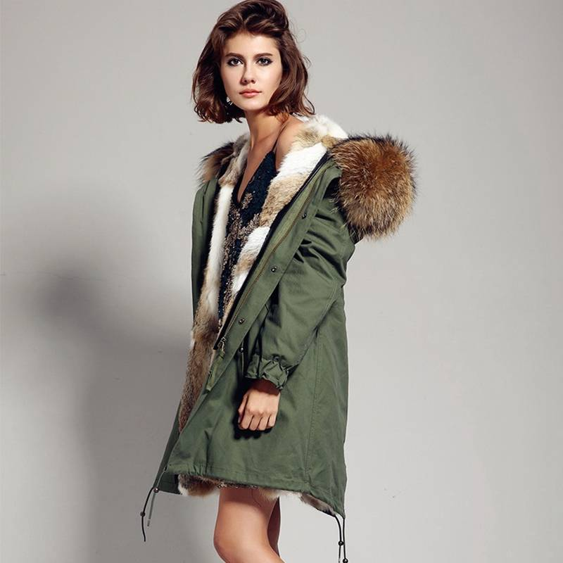 PARKA REAL RACCOON FUR HOODIE COLLAR JACKET