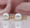 NATURAL ZIRCON SEA SHELL PEARL EARRING