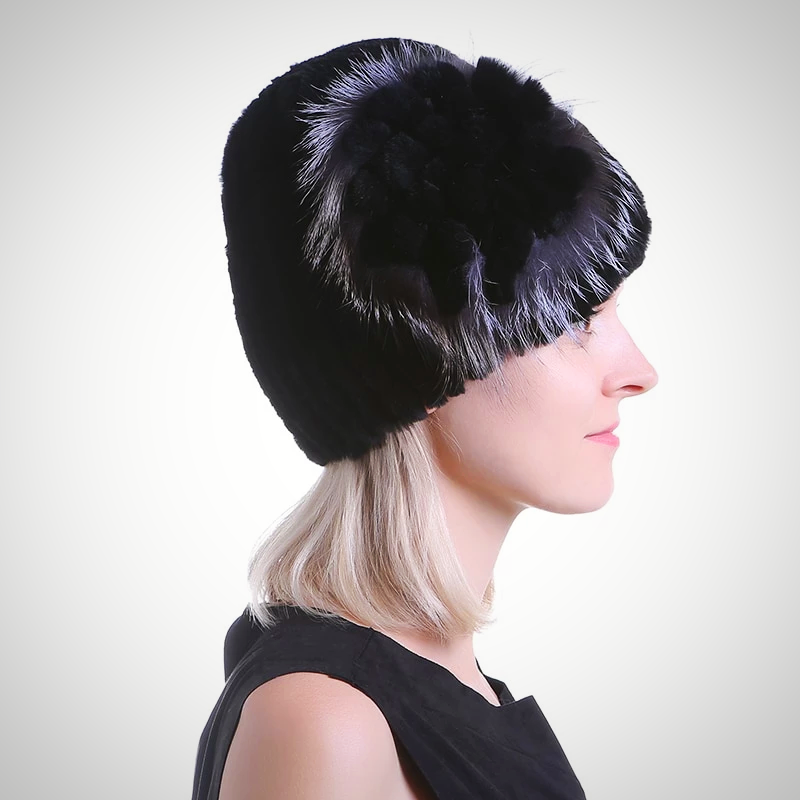 FOX FUR POM POMS FUR KNITTED CAP