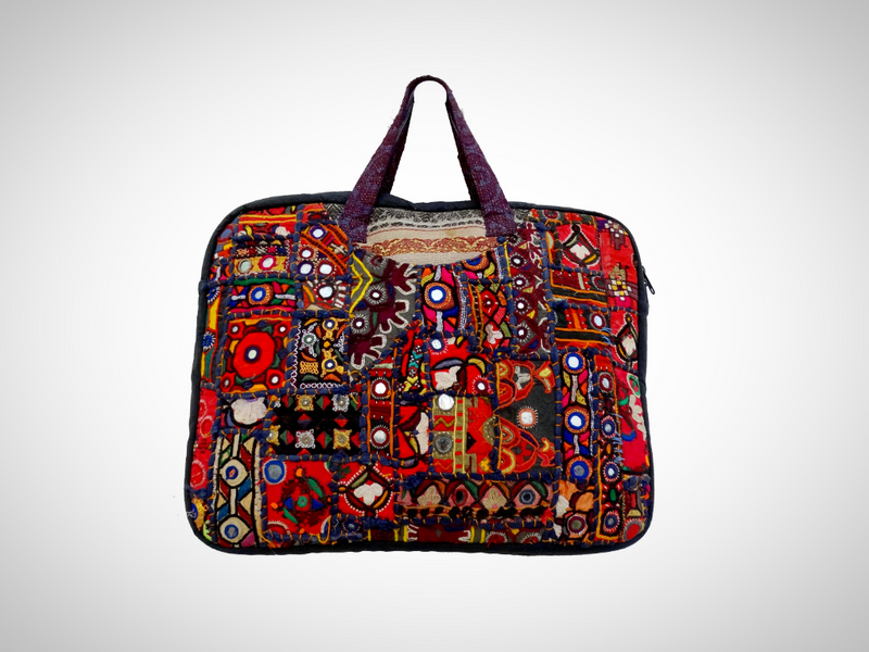 Hand embroidery vintage laptop bag