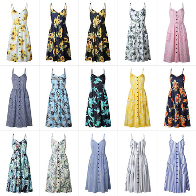Plus Size Sleeveless Patterned Spaghetti Summer dress