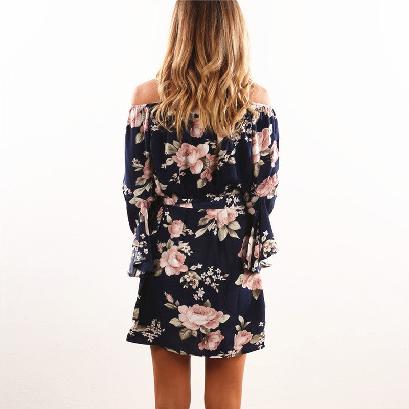 Off Shoulder Floral Print Chiffon Dress
