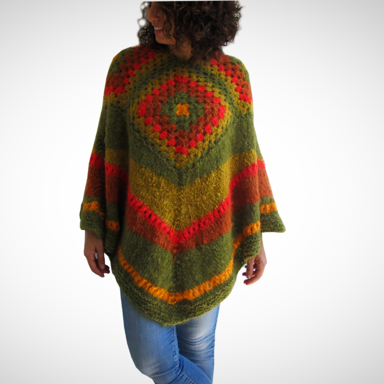 Plus size loose wool poncho